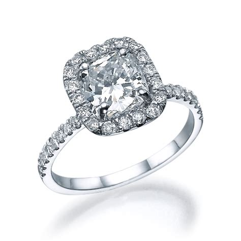 cushion cut engagement rings with no halo 1 75 ct cushion cut halo engagement ring 18k gold