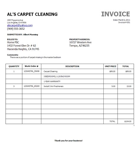carpet cleaning invoice template janitorial quotes quotesgram