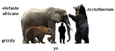Elephant Bigsize Brown comparing the size of an elephant and grizzly to the extinct prehistoric