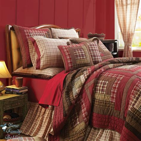 details about red rustic log cabin plaid twin queen cal