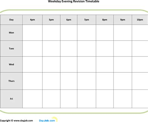 printable revision calendar common worksheets 187 printable revision timetable