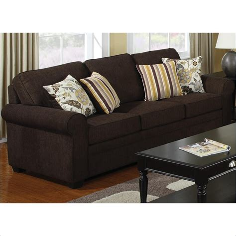 Coaster Rosalie Stationary Sofa With Accent Pillows In Brown Sofa Pillows