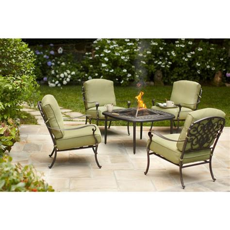 Firepit Patio Set Upc 843045018957 Hton Bay Outdoor Pits Edington 5 Patio Pit Set With Celery