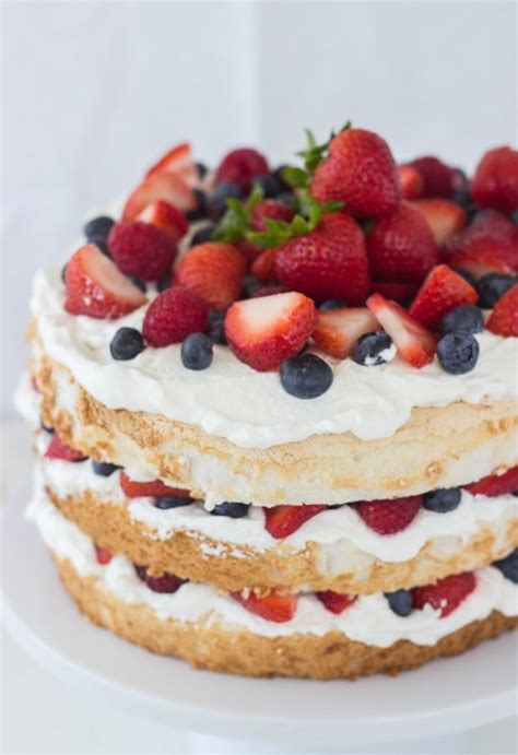 Homemade Coconut Cake Recipe by Angel Food Cake With Coconut Whipped Cream And Berries