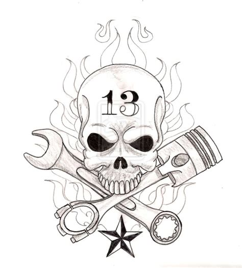 skull with crossed wrench and piston tattoo by metacharis