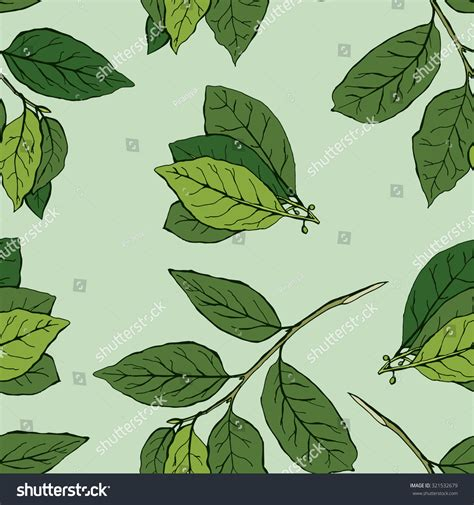 green leaves branch seamless floral pattern stock vector