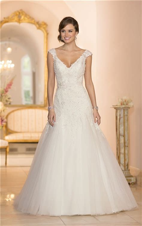 V Neck Sleeve A Line Dress fitted a line v neck cap sleeve tulle lace beaded wedding