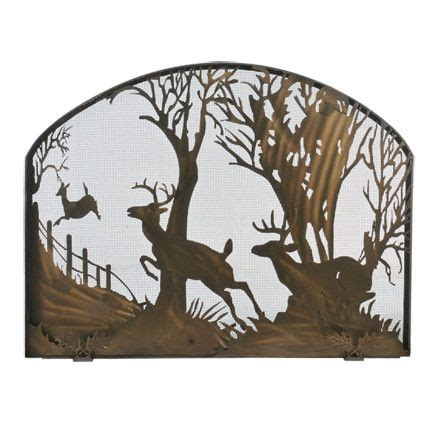 deer on the arched single panel fireplace screen