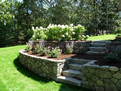 retaining wall flower bed chatham cape cod landscape design portfolio