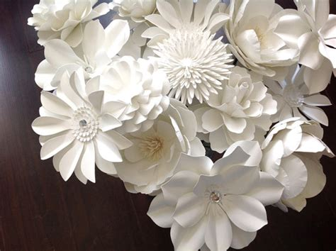 How To Make Paper Flowers With Stems - white paper flowers set of 20 stems