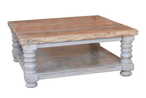 Custom Dining Room Table otb natural amp distressed grey square coffee table living