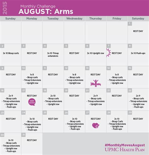 30 day arm exercise challenge 30 day arms workout challenge upmc health plan