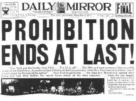prohibition ends gatsby unleashed prohibition in the 1920 s