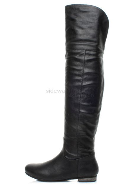 womens knee thigh high fold low heel