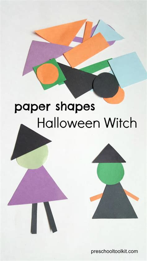 Shapes With Paper - witch made with paper shapes allfreekidscrafts