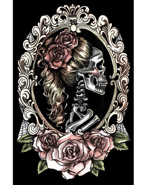 tattoo posters fast skull cameo poster skeleton roses