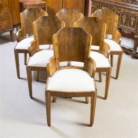 Antique Dining Room Furniture 1920 Antique 6 Deco Burr Walnut Dining Chairs C 1920