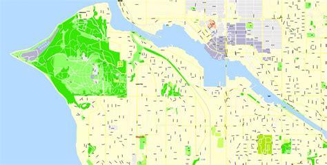 seattle map view seattle pdf map wa us exact vector map g view