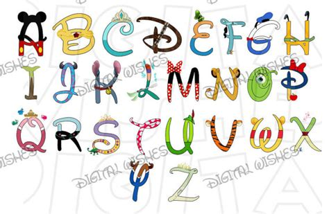 Disney Character Letter Y Disney Character Font Text Alphabet A Z Letters Digital Clip