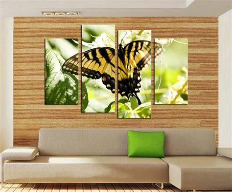 unframed 4 panels yellow black butterfly flowers canvas print painting modern wall for wall