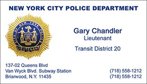 Nypd Business Card Template by Foil Bc Info