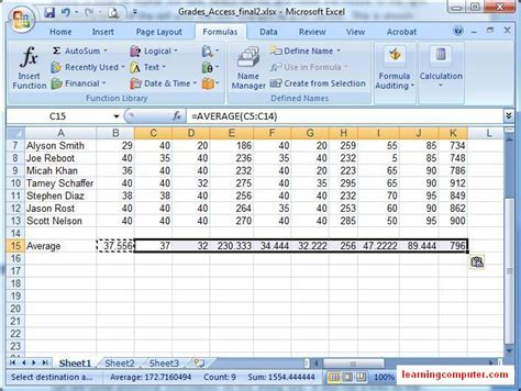 Formulas For Spreadsheets by Microsoft Excel 2007 Formulas Tab Softknowledge S