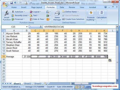 Microsoft Excel Worksheet by Microsoft Excel Formulas Tab Tutorial Learn Ms Excel 2007