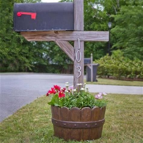 20 in d cast mailbox planter in barrel finish