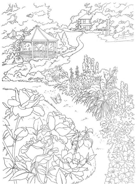 country landscape coloring page 80 best images about cottage colouring pages on pinterest
