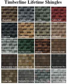 timberline shingles color chart images