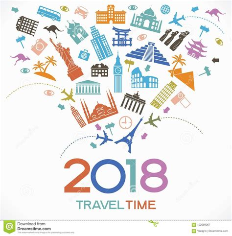 Happy New Year Lets Visit Asia by Travel And Happy New Year 2018 Design Background With