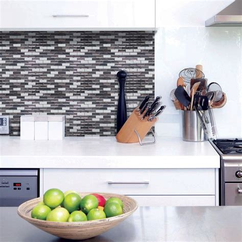 smart tiles kitchen backsplash smart tiles murano metallik 10 20 in w x 9 10 in h peel