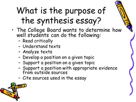 what is the purpose of a thesis the synthesis essay from 5 steps to a 5 ppt