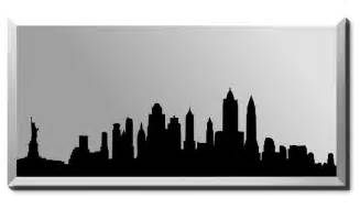 Bronze Bathroom Mirror - new york silhouette skyline mirror