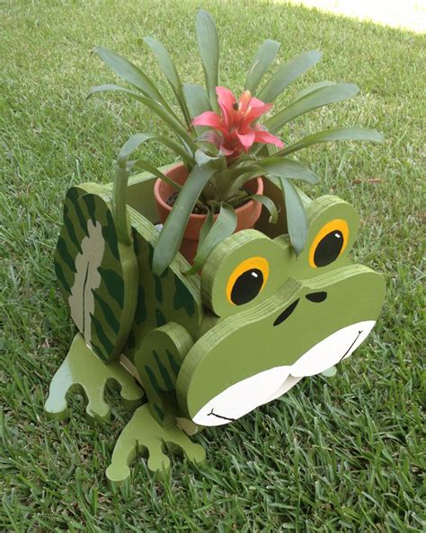 animal planters wooden animal planter frog