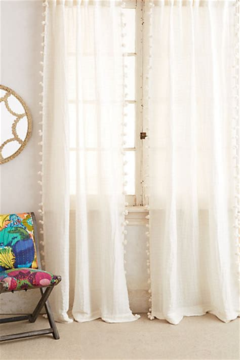 White Curtains With Pom Poms Decorating Pom Tassel Curtain Contemporary Curtains By Anthropologie