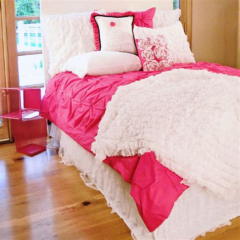 Hot pink pin tucked duvet cover modern duvet covers and duvet sets by rosenberry rooms