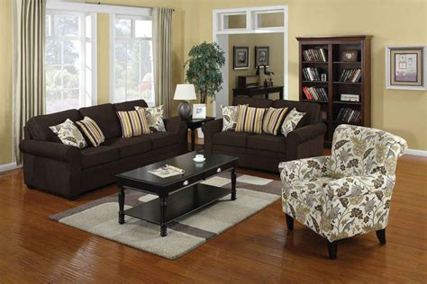 Coaster Rosalie Living Room Set Brown Black 504241 Accent Chair With Brown Leather Sofa