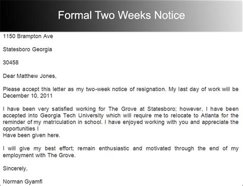 photo sle resignation letter 2 weeks notice images