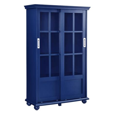 Bookcase With Sliding Glass Doors Bookcase With Sliding Glass Doors In Navy 9448596com