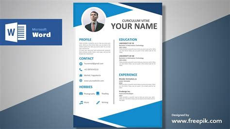 cv design tutorial awesome blue resume design tutorial in microsoft word
