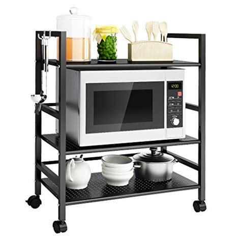 black kitchen microwave storage rolling cart on wheels w langria 3 tier mesh wire rolling kitchen cart microwave