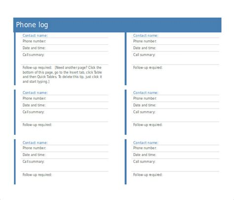 10 Phone Log Templates Word Excel Pdf Formats Template124 Phone Conversation Notes Template