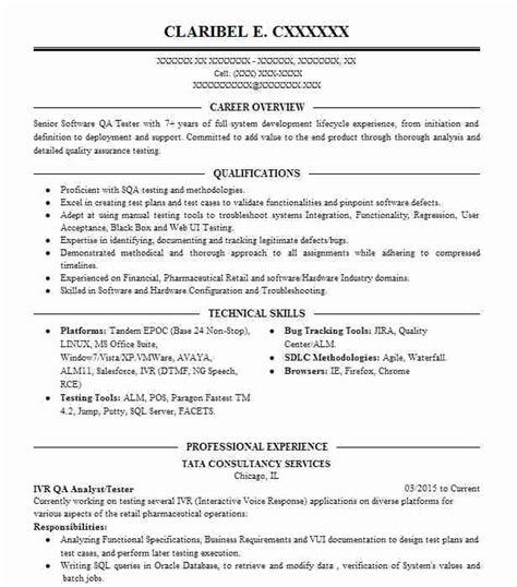 Ivr Tester Sle Resume by 4 Quality Assurance And Testing Resume Exles In San Ramon California Livecareer