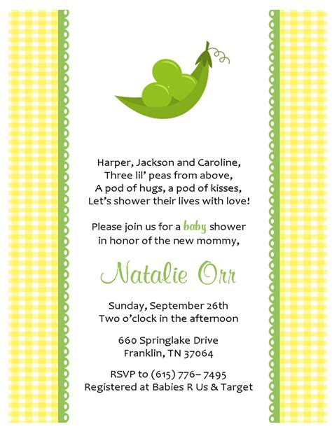 Pea In A Pod Baby Shower Invitations by Gt Baby Shower Invites Three Peas In A Pod Sweet Paperie