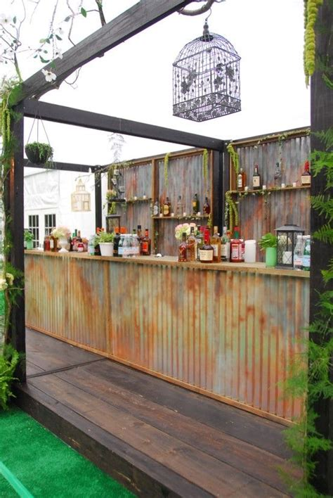 idea for wood metal mix decorations 25 best ideas about rustic outdoor bar on pinterest