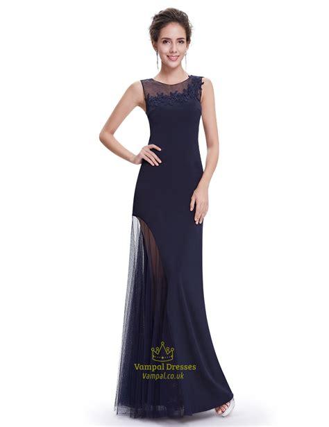 dresses for navy blue embellished neckline mermaid prom dresses with