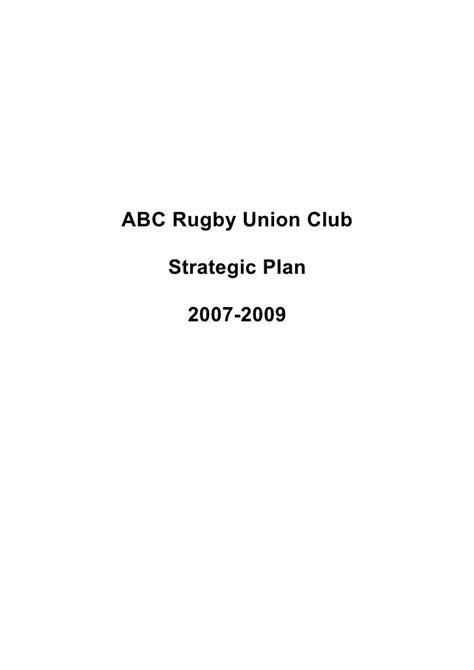 4 Abc Rugby Union Club Strategic Plan Template Rotary Club Strategic Plan Template