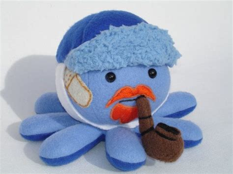 Plush Vans by Vincent Gogh Plush Octopus In Blue Hat With Pipe