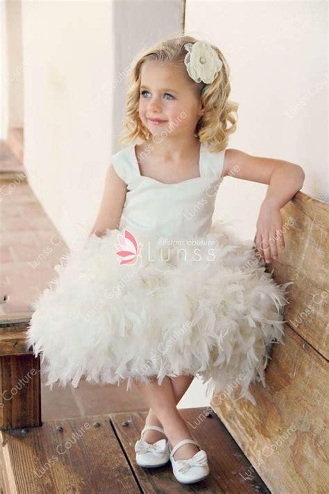 girl ivory custom feather balloon flower girl dress